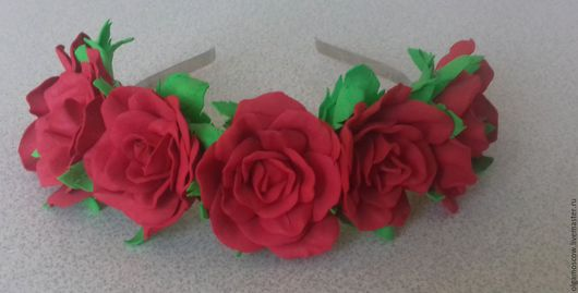Диадемы, обручи ручной работы. Ярмарка Мастеров - ручная работа. Купить Ободок на голову с розами из фоамирана. Handmade. Фоамиран, фом