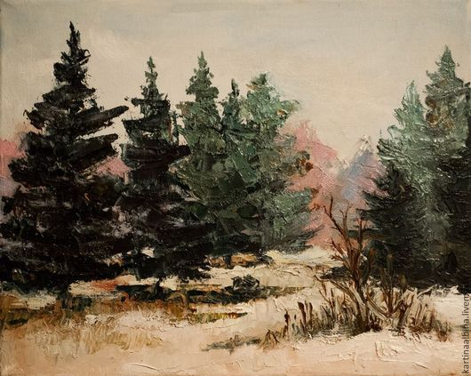 """Пейзаж ручной работы. Ярмарка Мастеров - ручная работа. Купить картина """"Зимний пейзаж"""". Handmade. Разноцветный, мастихин, масло, Живопись"""