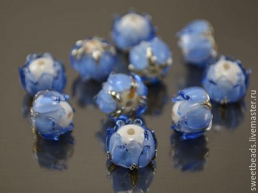 Для украшений ручной работы. Ярмарка Мастеров - ручная работа. Купить Бусина Графиня лэмпворк, темно-голубая. Handmade. Бусины