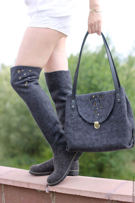 """Обувь ручной работы. Ярмарка Мастеров - ручная работа. Купить Комплект ботфорты и сумка """"Мокрый асфальт"""". Handmade. Темно-серый"""