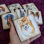 Картины и панно ручной работы. Ярмарка Мастеров - ручная работа Картинки на дереве для любителей собак. Handmade.