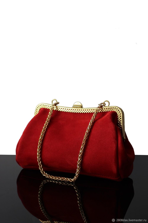 Red suede evening purse clasp, Clasp Bag, Bordeaux,  Фото №1