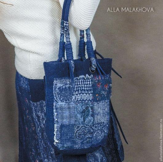 Женские сумки ручной работы. Ярмарка Мастеров - ручная работа. Купить Валяная сумка Цвет Синий. Handmade. Тёмно-синий