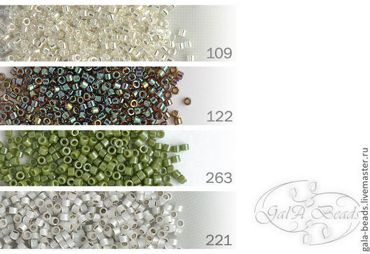 109  transparent luster rainbow crystal\r\n122   transparent luster rainbow brown\r\n263   opaque luster olive green\r\n221   silver-lined white opal