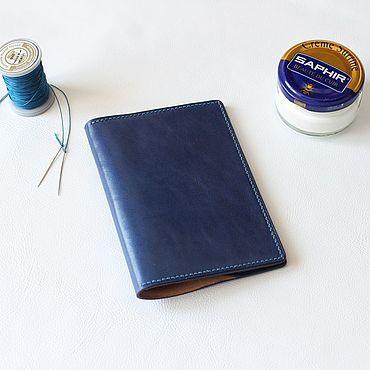 Stationery handmade. Livemaster - original item Passport cover in blue leather. Handmade.
