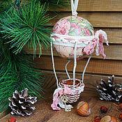 Для дома и интерьера ручной работы. Ярмарка Мастеров - ручная работа Елочная игрушка.  Воздушный шар. Розовыне сны. Handmade.