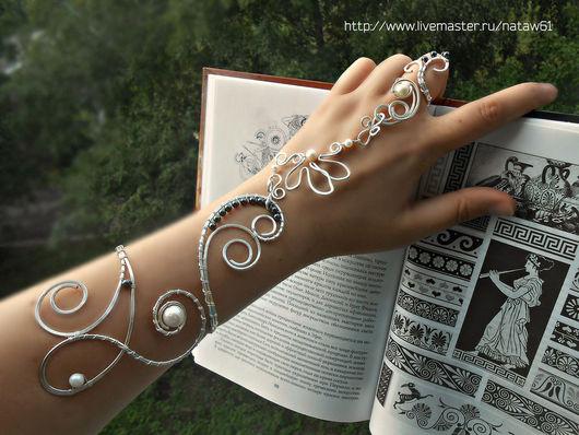 """Браслеты ручной работы. Ярмарка Мастеров - ручная работа. Купить Слейв-браслет""""Древний мир""""(браслет с жемчугом,браслет с кольцом). Handmade."""