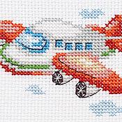 """Картины и панно ручной работы. Ярмарка Мастеров - ручная работа Вышивка """"Самолетик"""" (готовая работа). Handmade."""