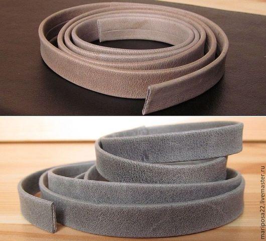 Для украшений ручной работы. Ярмарка Мастеров - ручная работа. Купить Шнур 10х2 кожаный мягкий, серый и светло-коричневый. Handmade.