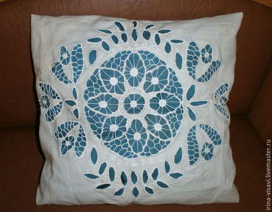 Текстиль, ковры ручной работы. Ярмарка Мастеров - ручная работа. Купить Наволочка с вышивкой на подушку. Handmade. Белый, Ришелье, на кровать