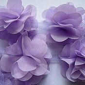 Материалы для творчества ручной работы. Ярмарка Мастеров - ручная работа Шифоновые цветы на сетке. Handmade.