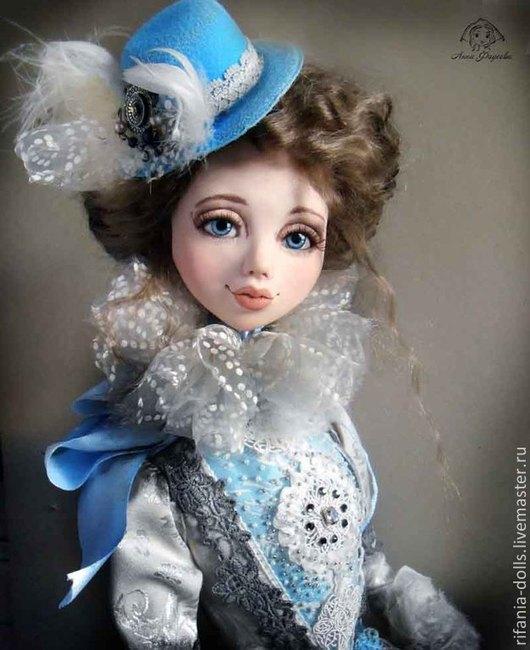 Коллекционные куклы ручной работы. Ярмарка Мастеров - ручная работа. Купить Валенсия.. Handmade. Голубой, ЛивингДолл, натуральная кожа