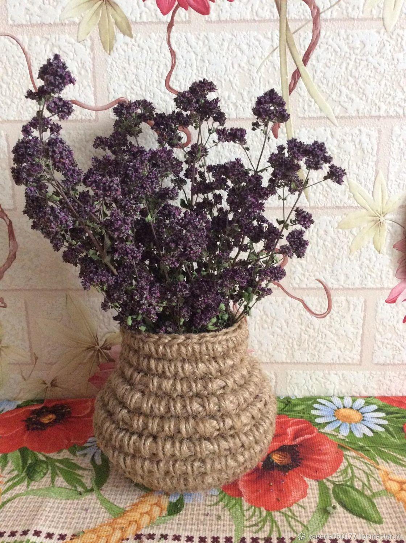 Basket -mini jute with a bouquet of oregano, Basket, Kaluga,  Фото №1