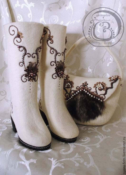 """Обувь ручной работы. Ярмарка Мастеров - ручная работа. Купить """"Изящная зима"""" сапоги и сумка из войлока. Handmade. Белый, зима"""