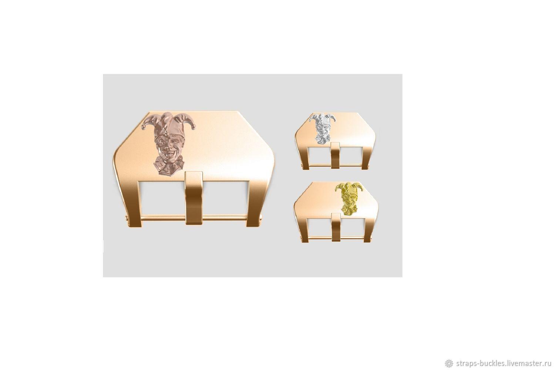Часовая пряжка (бакля) из бронзы/латуни со вставкой Джокер 22,24 мм, Часы наручные, Москва,  Фото №1