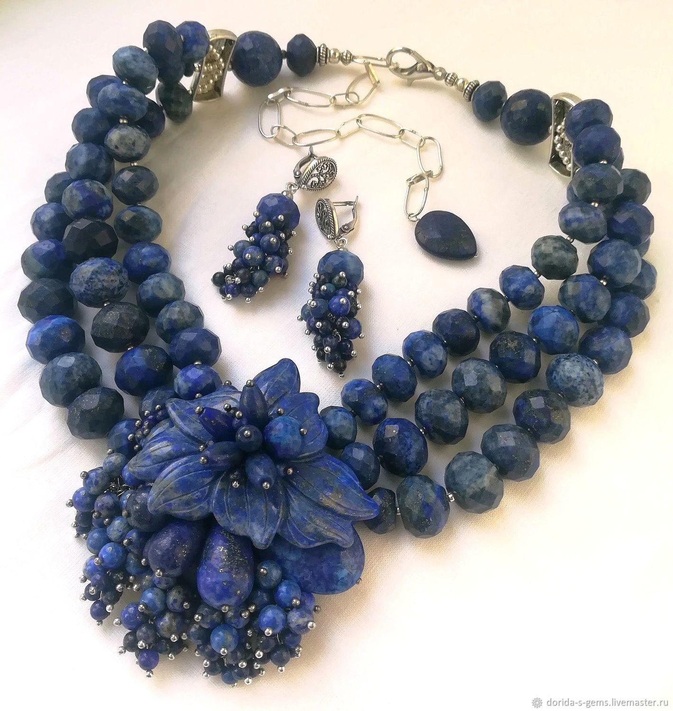 Natural Gem Stone Lapis Lazuli 3 Strands Beaded Necklace Jewelry