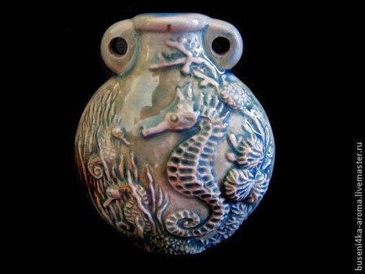 Для украшений ручной работы. Ярмарка Мастеров - ручная работа. Купить Аромакулон керамический Раку Морской. Handmade. Аромакулон