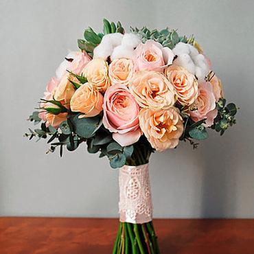 Свадебный салон ручной работы. Ярмарка Мастеров - ручная работа Букет невесты из пионовидных роз пыльно-розового цвета. Handmade.