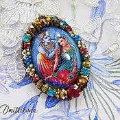 Украшения handmade. Livemaster - original item The order of Radha Krishna brooch is embroidered with beads. Handmade.