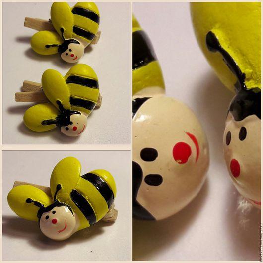 """Открытки и скрапбукинг ручной работы. Ярмарка Мастеров - ручная работа. Купить Прищепка """"Пчелка """". Handmade. Прищепки деревянные, прищепки"""