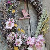 Для дома и интерьера ручной работы. Ярмарка Мастеров - ручная работа венок интерьерный розовое настроение с птичкой Нежный. Handmade.