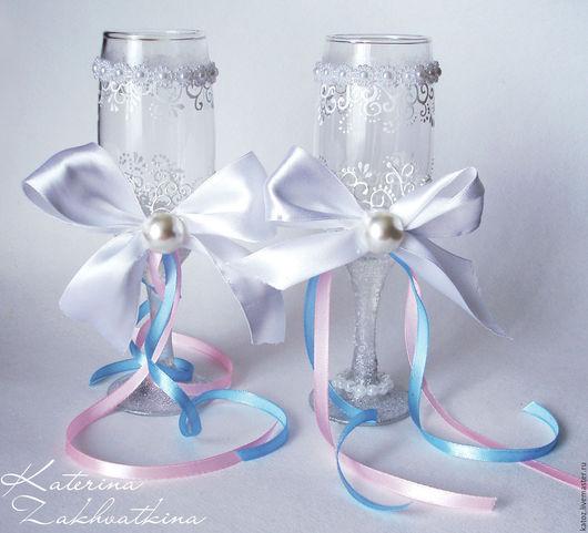 Бокалы, стаканы ручной работы. Ярмарка Мастеров - ручная работа. Купить Свадебные бокалы. Handmade. Белый, Бокалы, свадебные бокалы