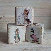 Для дома и интерьера handmade. Livemaster - original item Beatrix Potter interior Cubes / cubes baby, vintage, retro. Handmade.