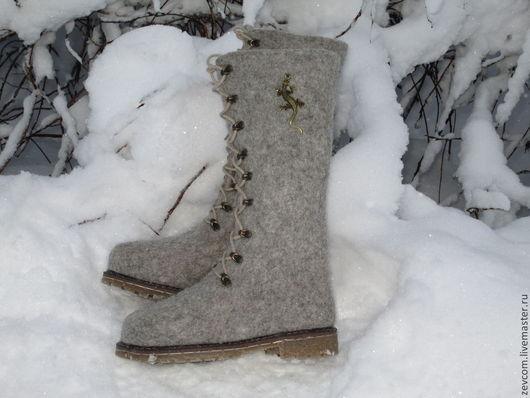 """Обувь ручной работы. Ярмарка Мастеров - ручная работа. Купить Войлочные ботинки """"Гекон"""". Handmade. Серый, ботинки женские, шерсть"""