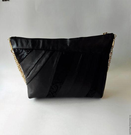 """Женские сумки ручной работы. Ярмарка Мастеров - ручная работа. Купить Черная сумка """"Frau"""",женская,стильная,кожаная,замшевая,black bag. Handmade."""