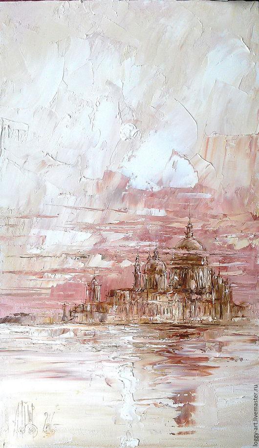 """Пейзаж ручной работы. Ярмарка Мастеров - ручная работа. Купить """"Воспоминание о Венеции"""". Handmade. Коралловый, модульная картина, картина в офис"""