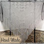 Аксессуары handmade. Livemaster - original item ELES Crochet Shawl 200*110 cm Openwork Triangular with Tassels #14. Handmade.