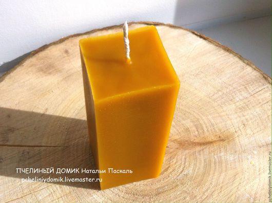 """Свечи ручной работы. Ярмарка Мастеров - ручная работа. Купить свеча """"Столбик куб"""" из пчелиного воска. Handmade. Желтый"""