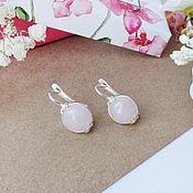 Украшения handmade. Livemaster - original item Earrings with rose quartz. 925 sterling silver. Handmade.