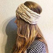 Аксессуары handmade. Livemaster - original item Beige headband with beads. Handmade.