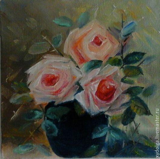 """Картины цветов ручной работы. Ярмарка Мастеров - ручная работа. Купить картинка маслом """"три розы авторская работа. Handmade."""