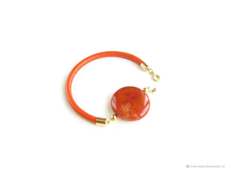 Bracelet with a stone'Fire of autumn'orange bracelet,bright bracelet, Bead bracelet, Moscow,  Фото №1