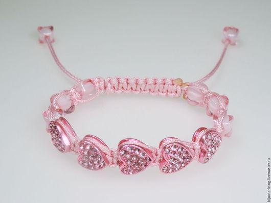 """Браслеты ручной работы. Ярмарка Мастеров - ручная работа. Купить Браслет в стиле шамбала """"Сердечки"""" розовый. Handmade. Шамбала, сердечки"""
