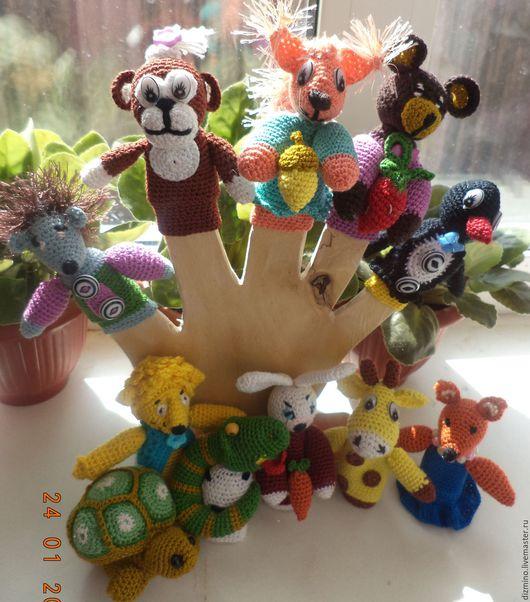 Кукольный театр ручной работы. Ярмарка Мастеров - ручная работа. Купить вязаный пальчиковый театр развивающие игрушки. Handmade. Комбинированный