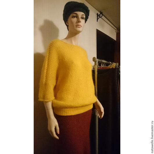 Кофты и свитера ручной работы. Ярмарка Мастеров - ручная работа. Купить мохеровый пуловер. Handmade. Белый, handmade, вишня