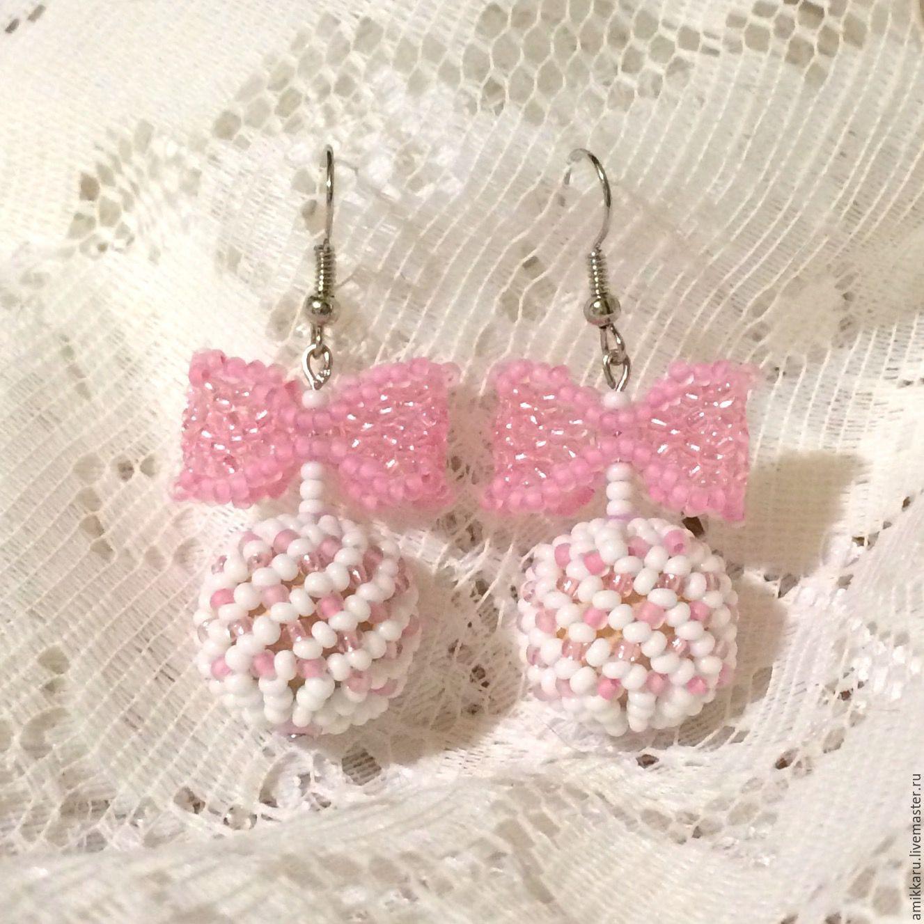 Earrings bow white shabby chic, Earrings, Kireevsk,  Фото №1