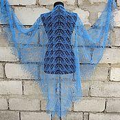 handmade. Livemaster - original item Shawl blue openwork large knitted with knitting needles. Handmade.