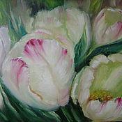 """Картины и панно ручной работы. Ярмарка Мастеров - ручная работа картина маслом""""Белая песня тюльпанов"""". Handmade."""