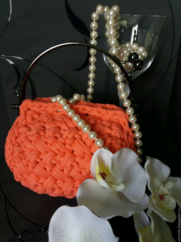 Вязаная сумочка, театральная сумочка, маленькая сумочка, коралловая сумочка, круглая сумочка, сумочка еа торжество