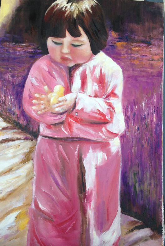 """Люди, ручной работы. Ярмарка Мастеров - ручная работа. Купить Картина маслом """" Солнышко в руках"""". Handmade. Розовый, дорога"""