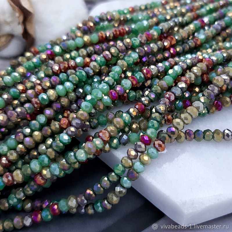 1/2 thread Faceted Rondel approx. 3x2.5. 4781 mm Mix Colors (), Beads1, Voronezh,  Фото №1