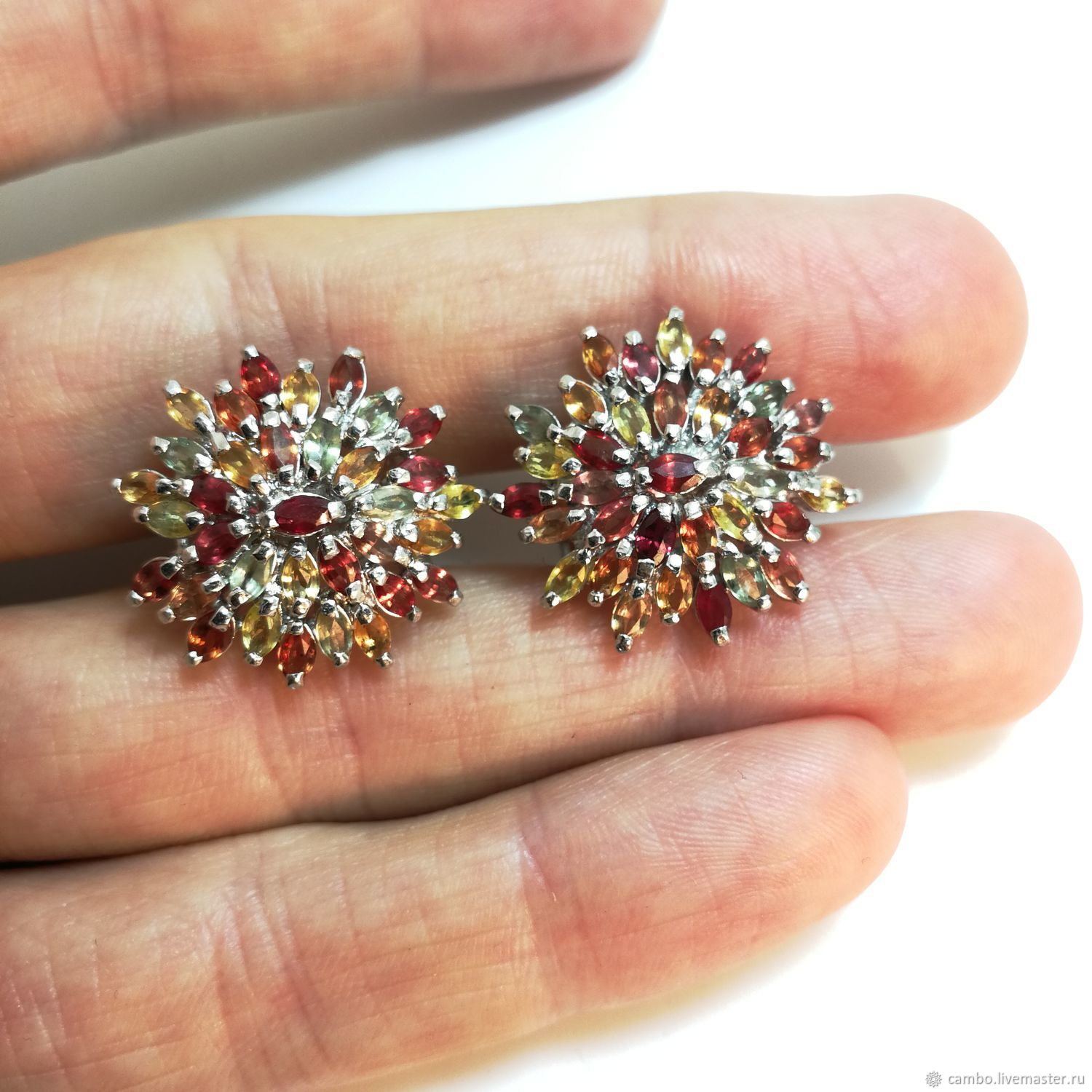 earrings: ' Big stars ' silver, colored sapphires, Earrings, Moscow,  Фото №1