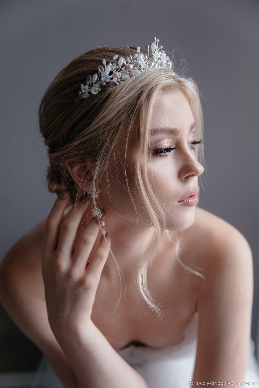 Tiara for the bride and earrings 'Felicia', Bridal Tiara, St. Petersburg,  Фото №1
