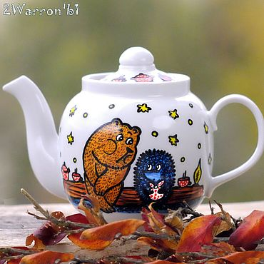 Посуда ручной работы. Ярмарка Мастеров - ручная работа Чайник заварочный Ёжик в тумане, ручная роспись. Handmade.