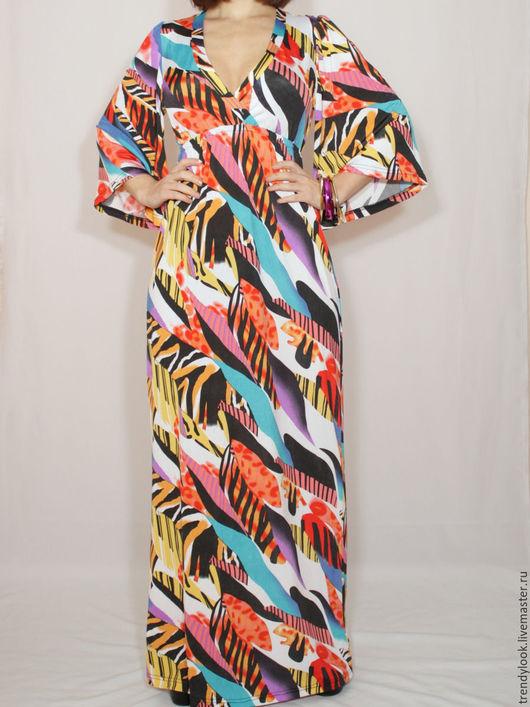 Платья ручной работы. Ярмарка Мастеров - ручная работа. Купить Длинное платье африканские мотивы, платье кимоно,платье в пол. Handmade.