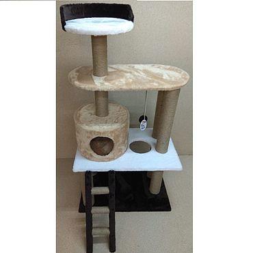 Товары для питомцев ручной работы. Ярмарка Мастеров - ручная работа Балуй-31 джут комплекс с домиком, лестницей и лежанками. Handmade.
